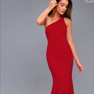 Brittany Wine Red One Shoulder Maxi Dress Lulu's